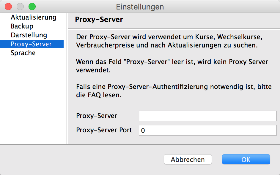 Proxy Server konfigurieren